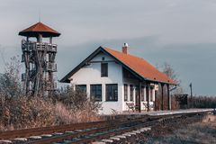 Birding tower in Hortobagy, Hungary. Train station and birding observation tower in Hortobagy National Park, Hungary, puszta is famous ecosystems in Europe and stock images