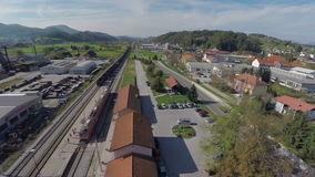 Train station from birds eye view stock video
