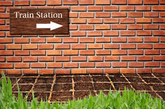 Train station on brickwall pattern Stock Images
