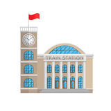 Train station building in Flat style isolated on white background Royalty Free Stock Photography