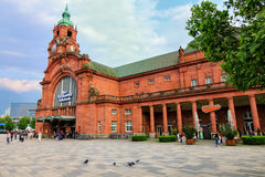 Train station building in Wiesbaden, Hesse, Germany Royalty Free Stock Images