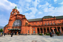 Train station building in Wiesbaden, Hesse, Germany Stock Image