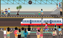 Train station busy illustration vector flat city transportation cartoon activities