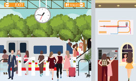 Train station busy scene people in rush waiting in gate urban commuter buy ticket. Vector Stock Photos
