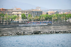 Train on the station Catania Centrale. Royalty Free Stock Photography