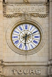 Train Station Clock. Tours. France. Clock at the train station facade. Tours. France Royalty Free Stock Photography