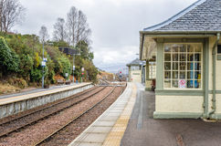 Train Station on a Cloudy Day. Empty Train Station on a winter cloudy day Royalty Free Stock Images