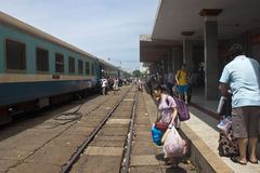 Train at the station in Danang Stock Images