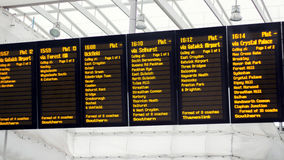 Train Station Departure Board. Times & Destinations Royalty Free Stock Photos