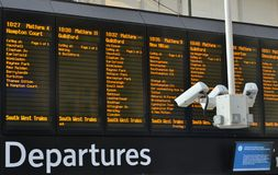 Train station departures board CCTV Royalty Free Stock Photography