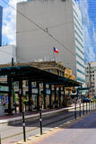 Train station in downtown houston. Above ground train station in downtown houston Stock Image