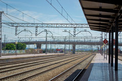 Train station with empty rails Royalty Free Stock Photos