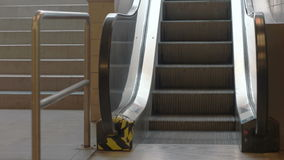 Train Station Escalators. Close up of moving escalator stairs stock footage