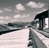 Train station Estacion de Archidona. Black and white photo of the train station that is no longer in use in Estacion de Archidona. The trains till run through stock photos