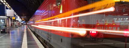 Train station evening traffic lights panorama Royalty Free Stock Images