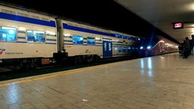 Train Station in Florence Italy, Italo train arrives. stock footage