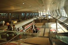 Train station in Frankfurt Airport. Elegant train station architecture from International Frankfurt Airport Royalty Free Stock Image