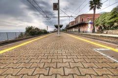 Train station of Genova Nervi sea. royalty free stock photo