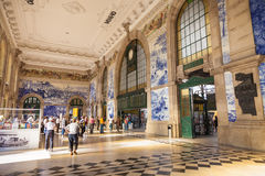 Train station hall of Porto, Portugal. Royalty Free Stock Image