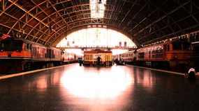 The train station has a lot of people. royalty free stock photography