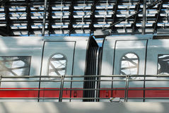 Train station ICE train. A german ICE train at berlin main-station Royalty Free Stock Photography