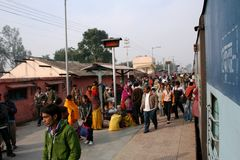 Train station, India. Crowded train station in Agra, India Royalty Free Stock Photo