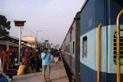 Train station, India. Departing people at Agra train station Stock Image