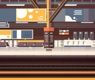 Train Station Interior Background Empty Platform Subway Or Railway With No Passengers Transport And Transportation. Concept Flat Vector Illustration Stock Image