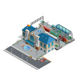 Train Station Isometric Miniature Royalty Free Stock Photos