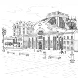 Train Station in Krasnoyarsk black and white. Sightseeing of Krasnoyarsk stock illustration