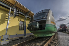 Train in station Liberec in sunny day Royalty Free Stock Photos