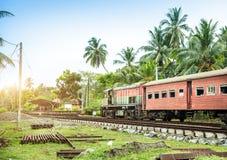 Train station, locomotive, railway road, Sri Lanka Royalty Free Stock Photos