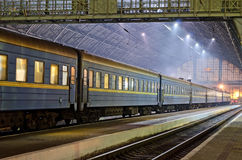 Train station in Lvov at night Stock Photo