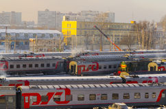 The train station in Moscow in the winter trains Stock Photo