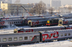 The train station in Moscow in the winter trains Stock Image