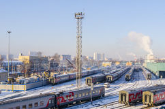 The train station in Moscow in the winter trains Stock Photography