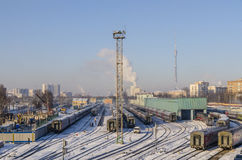 The train station in Moscow in the winter trains Stock Photos