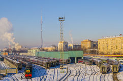 The train station in Moscow in the winter trains Royalty Free Stock Image