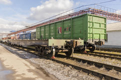 The train station in Moscow in the winter trains Royalty Free Stock Photos