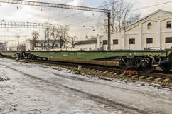 The train station in Moscow in the winter trains Royalty Free Stock Photo