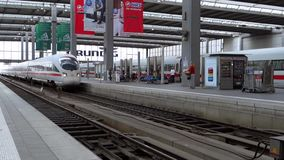 Train Station in Munich. ICE train arrival at the main station in Munich, Upper Bavaria, Germany, Europe stock footage