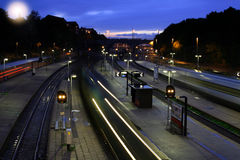 Train station at night Royalty Free Stock Images