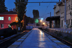 Train Station Night. Train station in the night with warm and cool lights around Royalty Free Stock Photography