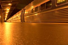 Train station at night. Last train from NYC to DC Stock Image