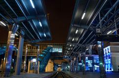 The train station at night. Donetsk, Ukraine Royalty Free Stock Photos