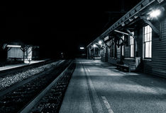 The train station at night, Harper's Ferry, West Virginia. Stock Photo