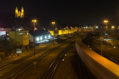 Train station at night Stock Photography
