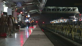 Train station in the night time in Mumbai. stock footage