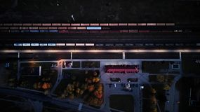 Train station at night top view. abstraction from wagons royalty free stock photography