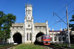 Train station of Novy Peterhof, St. Petersburg, Russia Stock Photos